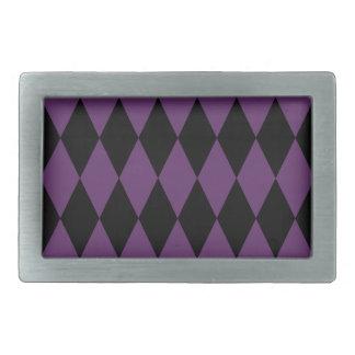Black Purple Harlequin Pattern Rectangular Belt Buckle