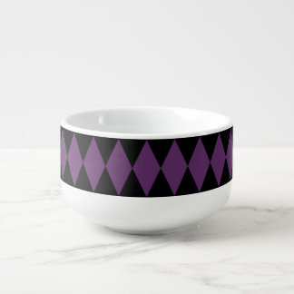 Black Purple Harlequin Pattern Soup Mug