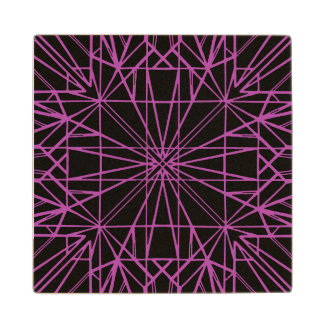 Black & Purple/Magenta Geometric Symmetry Wood Coaster