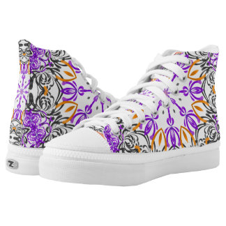 Black Purple Orange Abstract High Top Tennis Shoes Printed Shoes