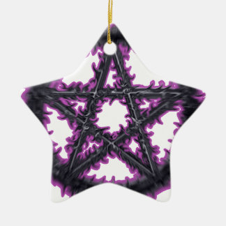 Black & Purple Pentacle Ceramic Star Decoration