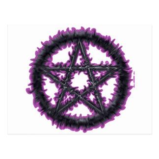 Black & Purple Pentacle Postcard