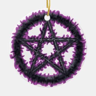 Black & Purple Pentacle Round Ceramic Decoration