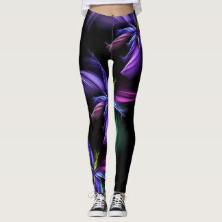 Black Purple Pink Blue Yellow Fractal Legging