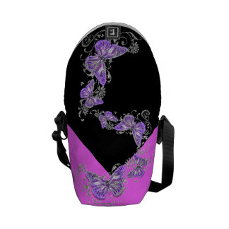 Black purple pink pattern commuter bags