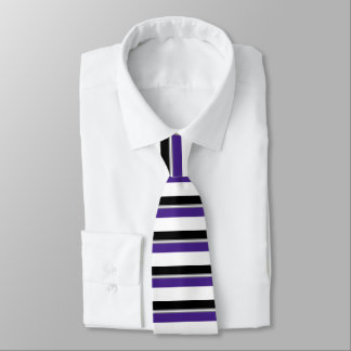 Black Purple Silver and White Banded Tie