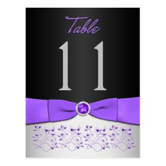 Black, Purple, Silver Floral Table Number Postcard
