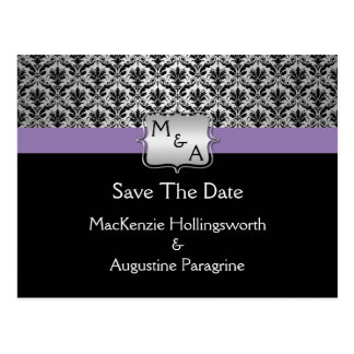 Black Purple Silver Monogram Damask Save The Date Post Card