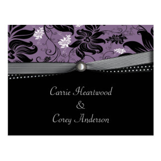 Black Purple Silver Save The Date Postcard