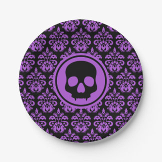 Black purple skull paper plate