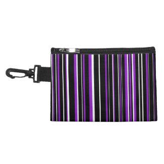 Black, Purple, White Barcode Stripe Accessories Bags