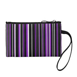 Black, Purple, White Barcode Stripe Coin Purses