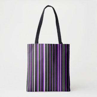 Black, Purple, White Barcode Stripe Tote Bag