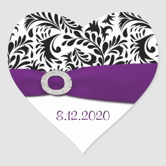 Black Purple & White Damask Envelope Seals