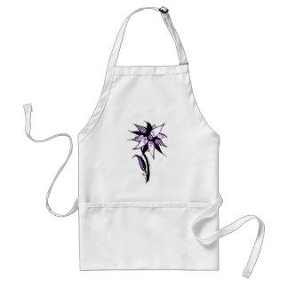 Black Purple White Swirly Flower by Naomi Aprons