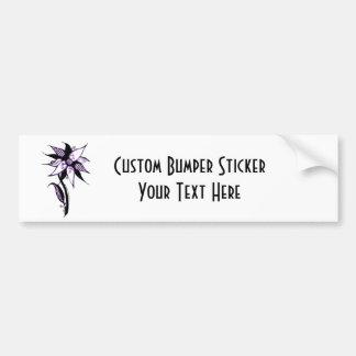 Black Purple & White Swirly Flower by Naomi Car Bumper Sticker