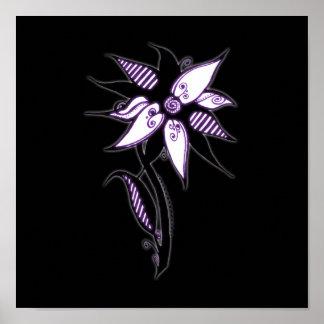 Black Purple & White Swirly Flower by Naomi Print