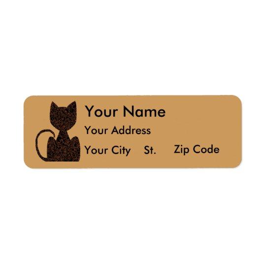 Black Puzzle Cat Address Labels