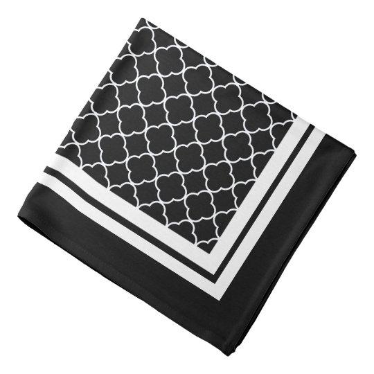Black Quatrefoil Border Pattern Bandana