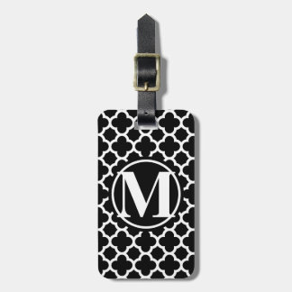 Black Quatrefoil III Monogram Luggage Tag