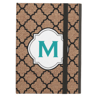 Black Quatrefoil on Rustic Burlap – Teal Monogram Cover For iPad Air