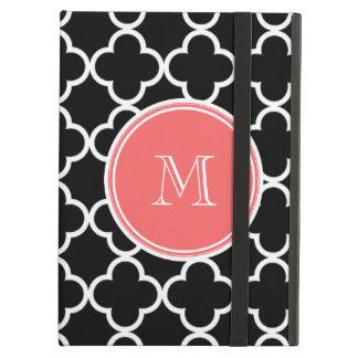 Black Quatrefoil Pattern, Coral Monogram iPad Air Case