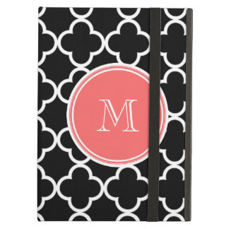 Black Quatrefoil Pattern, Coral Monogram iPad Air Covers