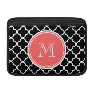 Black Quatrefoil Pattern, Coral Monogram MacBook Sleeve
