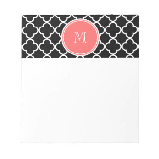 Black Quatrefoil Pattern, Coral Monogram Notepad