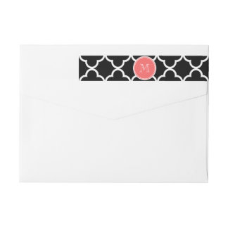 Black Quatrefoil Pattern, Coral Monogram Wrap Around Label