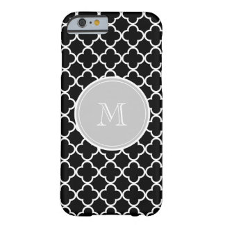 Black Quatrefoil Pattern, Gray Monogram Barely There iPhone 6 Case
