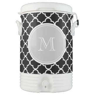 Black Quatrefoil Pattern, Gray Monogram Drinks Cooler