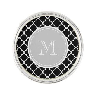 Black Quatrefoil Pattern, Gray Monogram Lapel Pin