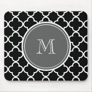 Black Quatrefoil Pattern, Gray Monogram Mouse Mat