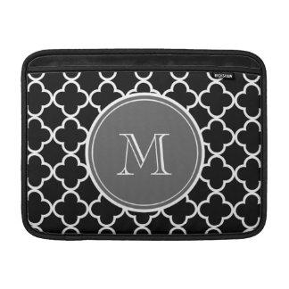 Black Quatrefoil Pattern, Gray Monogram Sleeve For MacBook Air