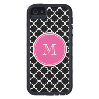 Black Quatrefoil Pattern, Hot Pink Monogram Case For The iPhone 5