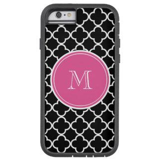 Black Quatrefoil Pattern, Hot Pink Monogram Tough Xtreme iPhone 6 Case