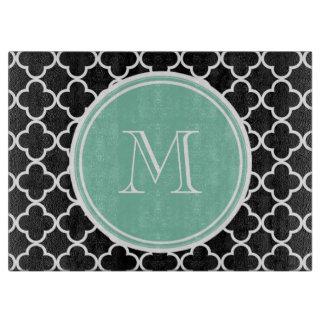 Black Quatrefoil Pattern, Mint Green Monogram Cutting Board