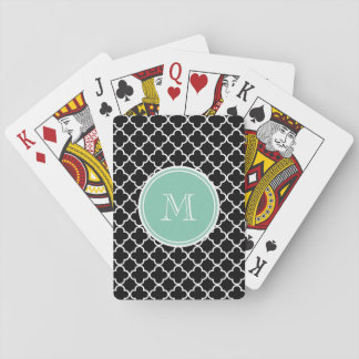 Black Quatrefoil Pattern, Mint Green Monogram Playing Cards