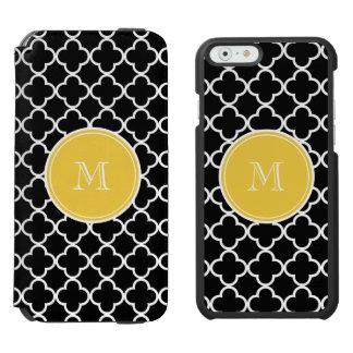 Black Quatrefoil Pattern, Yellow Monogram Incipio Watson™ iPhone 6 Wallet Case