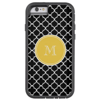 Black Quatrefoil Pattern, Yellow Monogram Tough Xtreme iPhone 6 Case