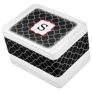 Black Quatrefoil Red Personalized Monogram Igloo Cool Box