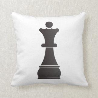 Black queen chess piece cushion