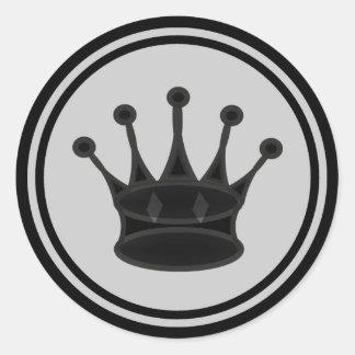 Black Queen Chess Piece Round Sticker