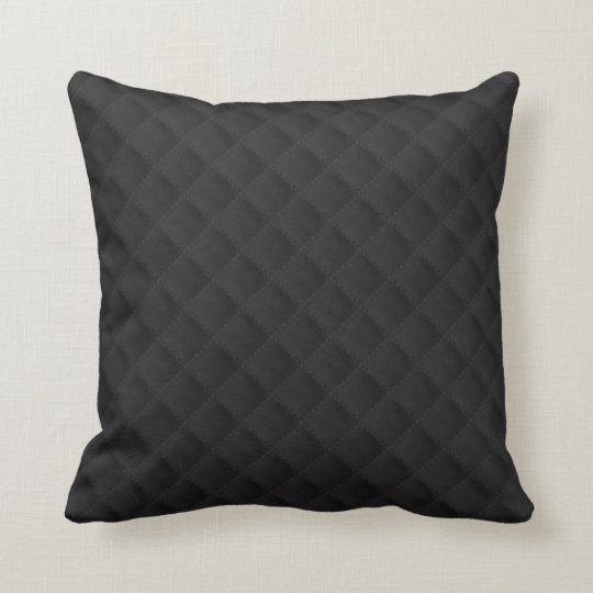 Black Quilted Leather Throw Pillow