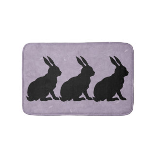Black Rabbit Silhouette Easter Bunny Bath Mats