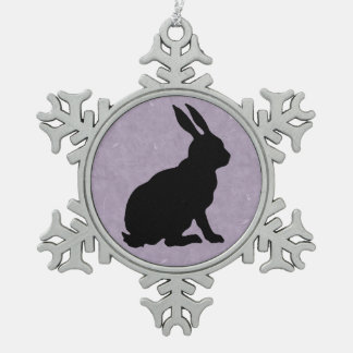 Black Rabbit Silhouette Easter Bunny Snowflake Pewter Christmas Ornament