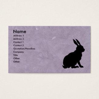 Black Rabbit Silhouette Marbled Purple Business Card