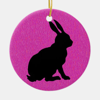 Black Rabbit Silhouette on Pink Christmas Ornament
