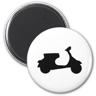 black racing scooter 6 cm round magnet
